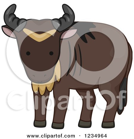 Clipart of a Cute Wildebeest - Royalty Free Vector Illustration by BNP Design Studio