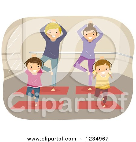 Clipart of a Happy Family Doing Yoga - Royalty Free Vector Illustration by BNP Design Studio