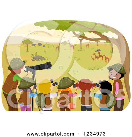Clipart of Teachers and School Children at an African Safari - Royalty Free Vector Illustration by BNP Design Studio