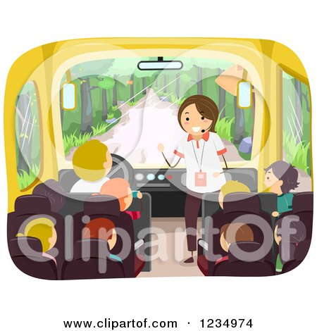 Clipart of a Tour Guide Speaking to Children on a Bus - Royalty Free Vector Illustration by BNP Design Studio