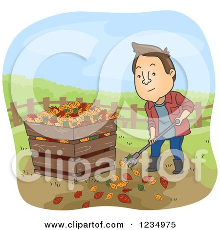 Clipart of a Man Raking Leaves and Putting Them in a Compost Bin - Royalty Free Vector Illustration by BNP Design Studio