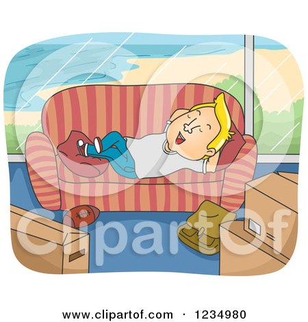 Clipart of a Relaxed Blond Caucasian Man Resting on a Couch in a New Beach Front Home - Royalty Free Vector Illustration by BNP Design Studio