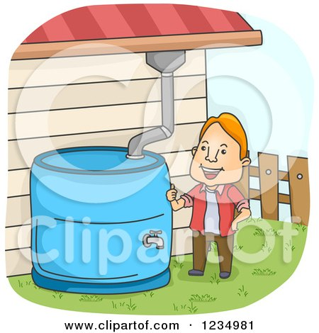 Clipart Of A Black And White Water Holding Tank Royalty