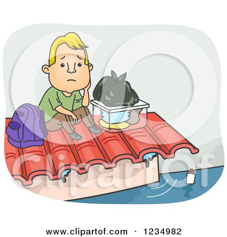 Clipart of a Caucasian Man Stranded on a Roof During a Flood - Royalty Free Vector Illustration by BNP Design Studio