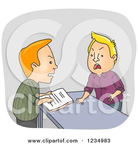 Clipart of Caucasian Men Arguing over Documents at a Counter - Royalty Free Vector Illustration by BNP Design Studio