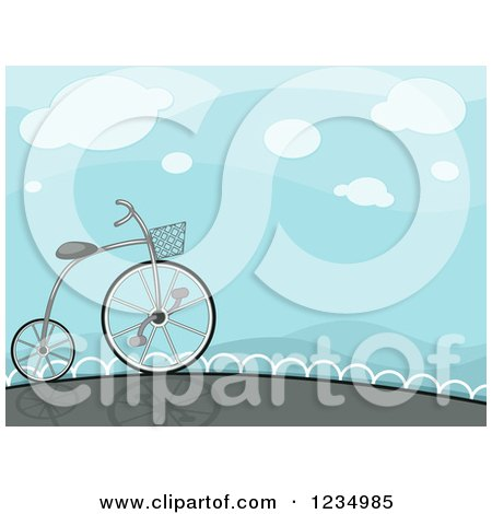 High Wheeler Bicycle Under a Blue Sky Posters, Art Prints