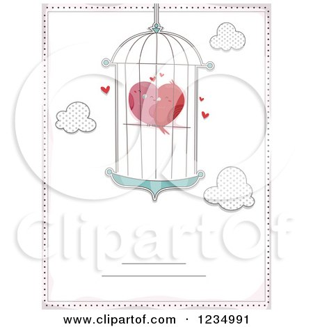 Clipart of Cuddling Love Birds Forming a Heart in a Cage Bordered with Text Space - Royalty Free Vector Illustration by BNP Design Studio