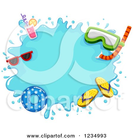 Clipart of a Water Splash Frame with Summer Items - Royalty Free Vector Illustration by BNP Design Studio