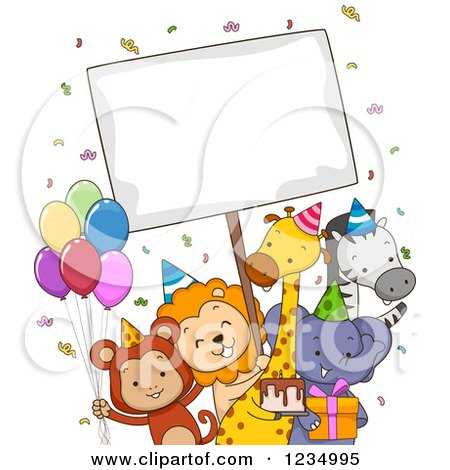 Clipart of Happy Party Zoo Animals with a Sign - Royalty Free Vector Illustration by BNP Design Studio