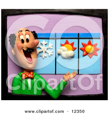 Clay Sculpture Clipart Meteorologist Weather Man Discussing The Forecast - Royalty Free 3d Illustration  by Amy Vangsgard