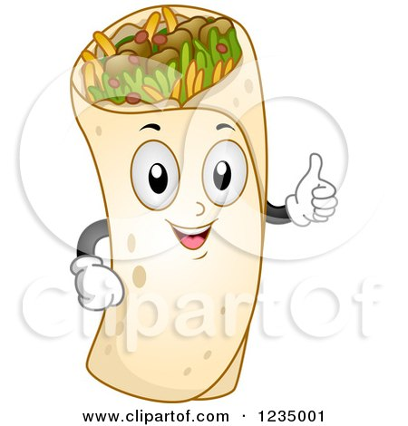 Clipart of a Burrito Mascot Holding a Thumb up - Royalty Free Vector Illustration by BNP Design Studio