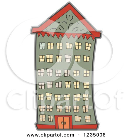 Clipart of an Urban Apartment Building - Royalty Free Vector Illustration by BNP Design Studio