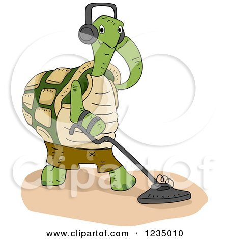 Clipart of a Turtle Tortoise Using a Metal Detector - Royalty Free Vector Illustration by BNP Design Studio