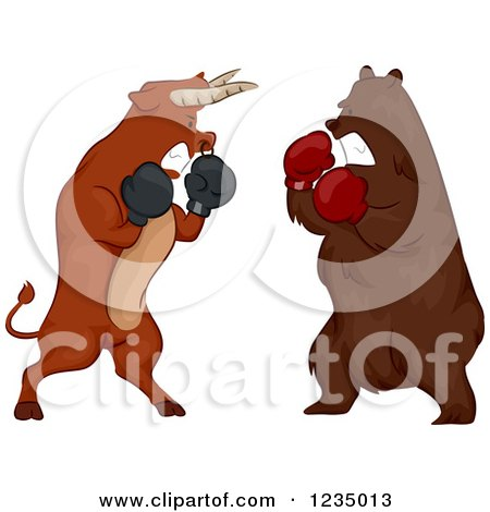 Clipart of a Stock Market Bear and Bull Boxing - Royalty Free Vector Illustration by BNP Design Studio