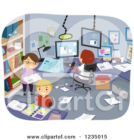 Clipart O Children Researching and Conducting an Experiment in a Room - Royalty Free Vector Illustration by BNP Design Studio