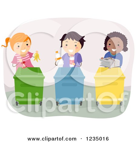 Clipart of Diverse Children Dividing up Recycle Items into Bins - Royalty Free Vector Illustration by BNP Design Studio