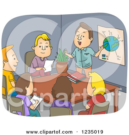 Clipart of a Caucasian Businessman Performing an Environmental Presentation - Royalty Free Vector Illustration by BNP Design Studio