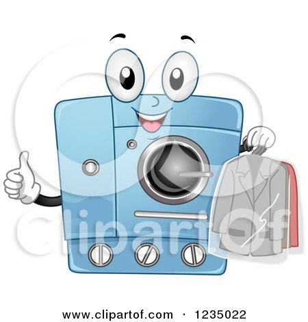 Clipart of a Happy Dry Clean Machine Holding a Thumb up - Royalty Free Vector Illustration by BNP Design Studio