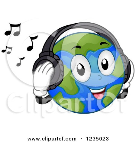 Clipart of a Happy Earth Mascot Listening to Music with Headphones - Royalty Free Vector Illustration by BNP Design Studio