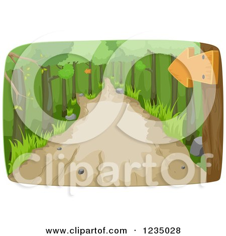 Clipart of a Sign over a Hiking Trail Path in the Woods - Royalty Free Vector Illustration by BNP Design Studio