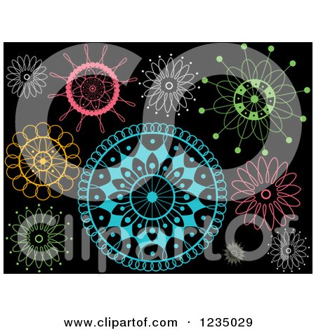 Clipart of Colorful Doilies on Black - Royalty Free Vector Illustration by BNP Design Studio
