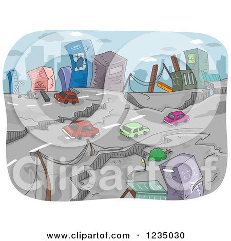 Clipart of Fissures on a City Road After an Earthquake - Royalty Free Vector Illustration by BNP Design Studio