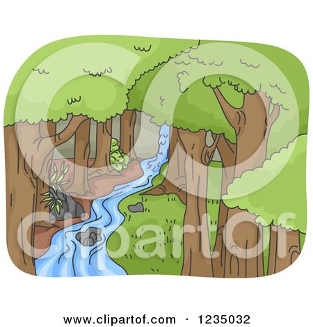 Clipart of a Stream Running Through a Forest - Royalty Free Vector Illustration by BNP Design Studio