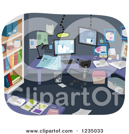 Clipart of Notes Scattered in an Experimental Room - Royalty Free Vector Illustration by BNP Design Studio