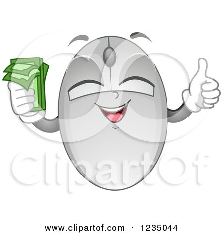 Clipart of a Computer Mouse Mascot Holding Cash and a Thumb up - Royalty Free Vector Illustration by BNP Design Studio