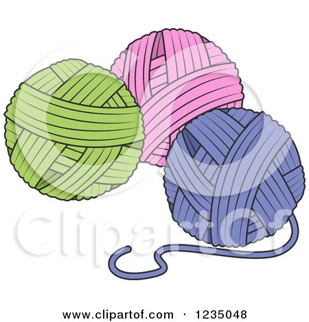 Clipart of Green Pink and Purple Knitting Yarn Balls - Royalty Free Vector Illustration by BNP Design Studio
