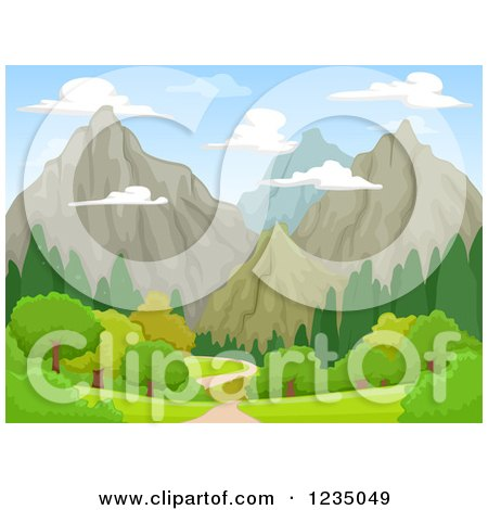 Clipart of a Landscape With Rocky Mountains - Royalty Free Vector Illustration by BNP Design Studio