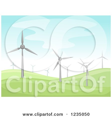 Clipart of a Hilly Landscape with Windmills - Royalty Free Vector Illustration by BNP Design Studio