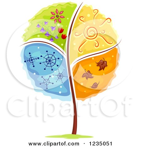 Clipart of a Tree Divided into Four Seasons - Royalty Free Vector Illustration by BNP Design Studio
