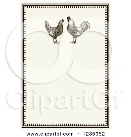 Clipart of a Vintage Invitation with a Rooster Pair on Beige - Royalty Free Vector Illustration by BestVector