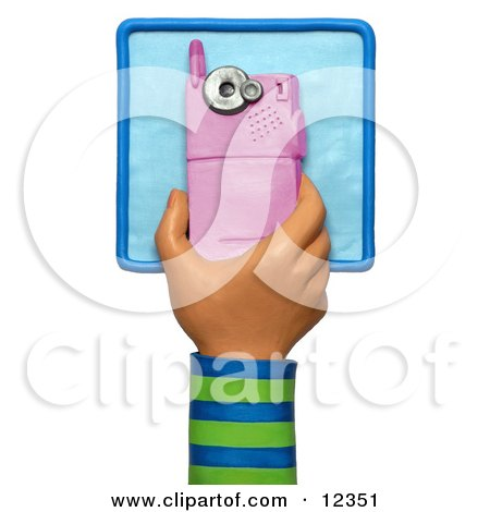 Clay Sculpture Clipart 3d Clay Sculpture Hand Over A Pink Cell Phone - Royalty Free 3d Illustration  by Amy Vangsgard