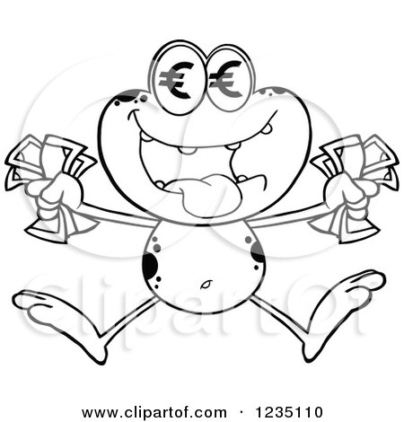 Clipart of a Black and White Frog Character Jumping with Euro Cash Money - Royalty Free Vector Illustration by Hit Toon