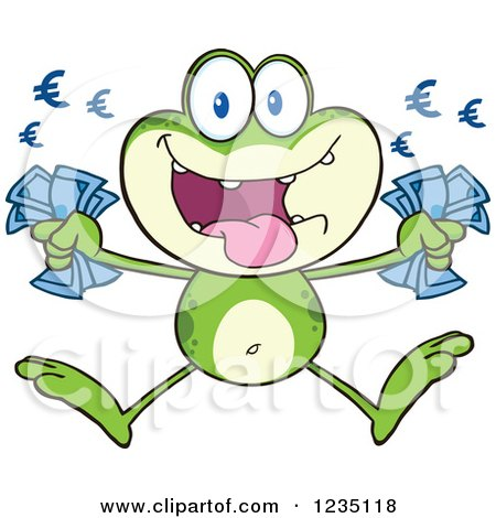 Clipart of a Rich Frog Character Jumping with Euro Cash Money - Royalty Free Vector Illustration by Hit Toon