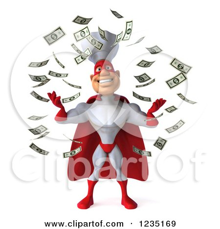 Clipart Of Cash Money Raining Down On A 3d Male Super Chef Royalty