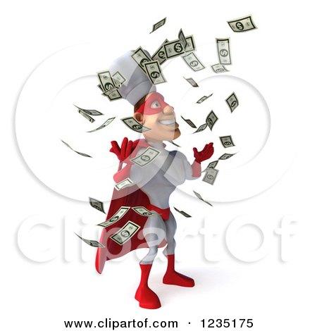 Clipart Of Cash Money Raining Down On A 3d Male Super Chef 2