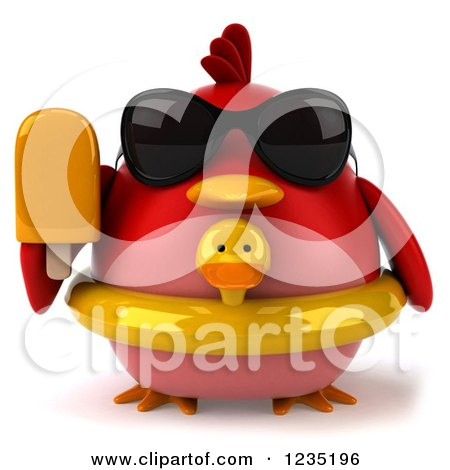 Clipart of a 3d Chubby Red Bird with a Popsicle and Inner Tube - Royalty Free Illustration by Julos