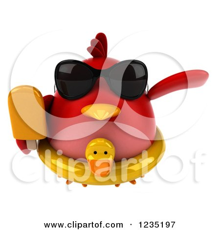 Clipart of a 3d Chubby Red Bird Flying with a Popsicle and Inner Tube - Royalty Free Illustration by Julos