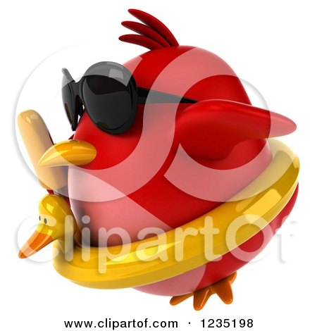 Clipart of a 3d Chubby Red Bird Flying with a Popsicle and Inner Tube 2 - Royalty Free Illustration by Julos