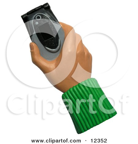 Clay Sculpture Clipart Hand Holding A Black And Gray Cell Phone - Royalty Free 3d Illustration  by Amy Vangsgard