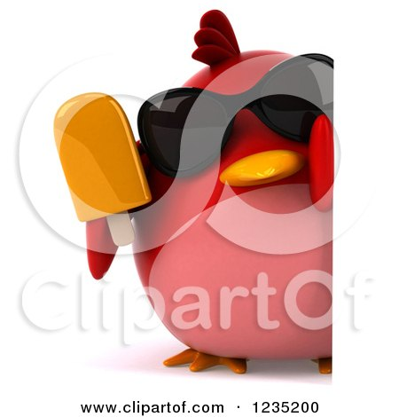 Clipart of a 3d Chubby Red Bird with Sunglasses and a Popsicle Around a Sign - Royalty Free Illustration by Julos