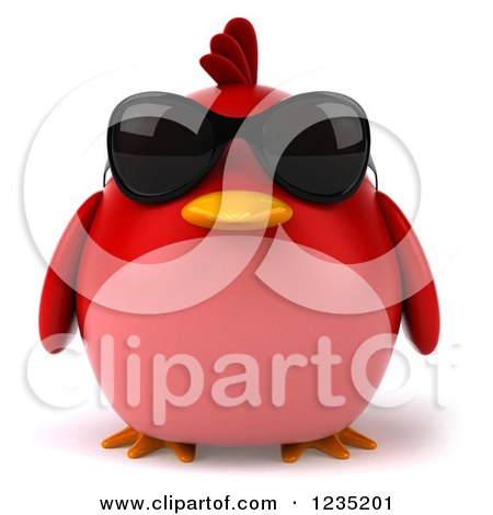 Clipart of a 3d Chubby Red Bird Wearing Sunglasses - Royalty Free Illustration by Julos