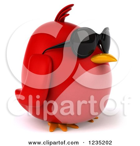Clipart of a 3d Chubby Red Bird Wearing Sunglasses and Facing Right - Royalty Free Illustration by Julos