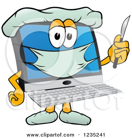Clipart of a Doctor PC Computer Mascot Holding a Scalpel - Royalty Free Vector Illustration by Toons4Biz