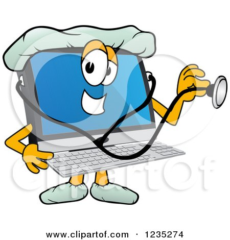 Clipart of a Doctor PC Computer Mascot Using a Stethoscope - Royalty Free Vector Illustration by Toons4Biz