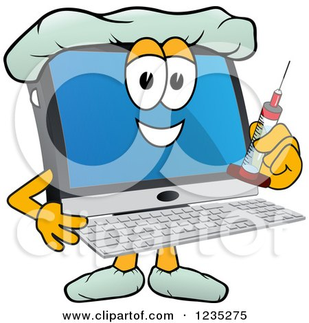 Clipart of a Doctor PC Computer Mascot Holding a Vaccine Syringe - Royalty Free Vector Illustration by Toons4Biz