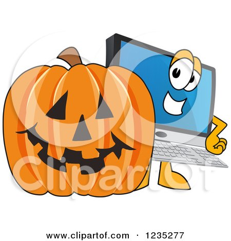 Clipart of a PC Computer Mascot and a Halloween Pumpkin - Royalty Free Vector Illustration by Toons4Biz